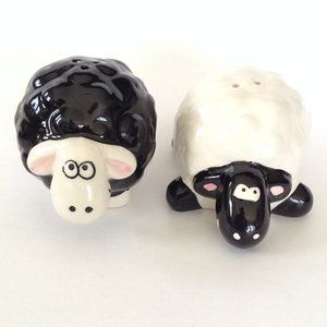 Black and White Sheep Salt & Peppers Shakers